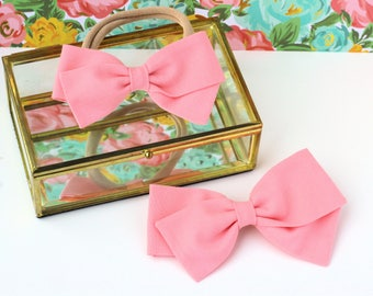 Light Pink Bow - Powdered Pink - Hair Bows and clips for Girls - Fabric Bows