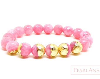 24K gold leaf and pink gemstone bracelet
