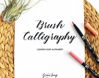 Lower Case Letter Brush Calligraphy Practice Guide, Brush Lettering Worksheets
