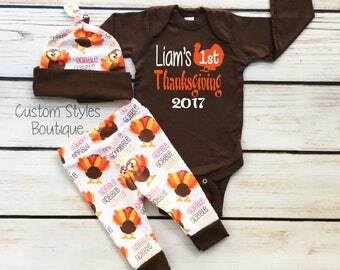 Baby Boys First Thanksgiving Outfit, Custom Name, Brown Infant Bodysuit, Leggings And Hat With Turkeys, Baby Boy 1st Thanksgiving Outfit Set