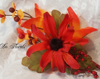 Fall Boutonniere, Coneflower Boutonniere, Homecoming Boutonniere, Orange Boutonniere, Wedding Flowers, Orange and Red Boutonniere, Lapel Pin