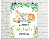 Safari Baby Shower Welcome Sign Giraffe, Elephant, Lion Jungle Animals Gender Neutral Boys & Girls Baby Shower Printable 8x10 16x20 - ID01