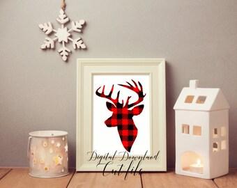 Buffalo Plaid Deer svg, Plaid Deer Head Svg, plaid Deer svg, Deer Head svg, Buffalo Plaid svg, Fall svg, antlers, SVG, cricut, silhouette