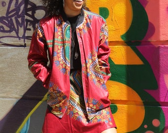 African Print Bomber Jacket - Wax Jacket - Dashiki Jacket - African Print - African Clothing - Festival Clothing - Festival Jacket - Dashiki