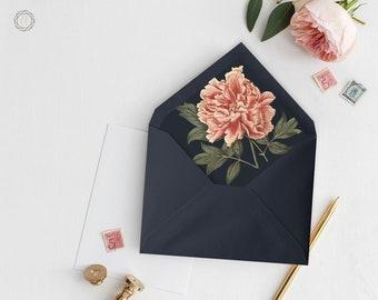 Envelope Liners, Printable Liner, Navy Blue Envelope Liner, Floral Envelope Liner, Envelope Liner, A7 Envelope Liner, Instant Download, #VCS