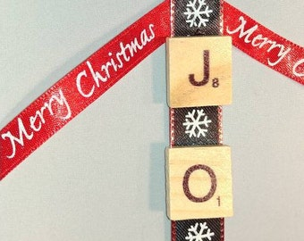 "Ornaments scrabble ""JOY"" Christmas ornaments."