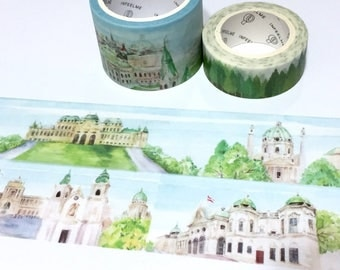 Austria Landmarks europe palace washi tape 5Mx 3cm european fairy tale building Vienna Church vintage building sticker wide tape deco gift