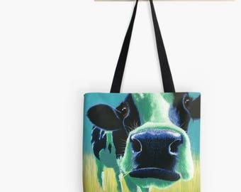 Turquoise cow tote bag | blue cow shopping bag | cow handbag | cow shoulder bag | big nosed cow bag