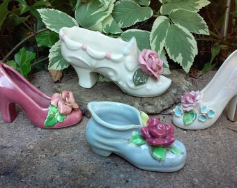 Vintage Shoe,Slipper and Booty Figurines lot of 4