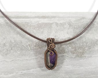 Miniature amethyst double point wand wrapped with hand oxidized copper wire pendant necklace