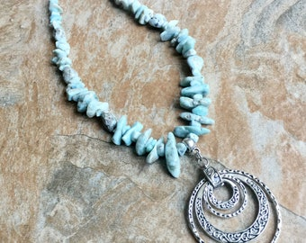 Atlantis jewelry Atlantis necklace larimar beads larimar necklace genuine larimar raw larimar larimar and sterling silver statement necklace