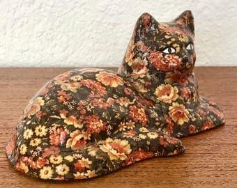 Formalities By Baum Bros Floral Papier-mâché Porcelain Cat Figurine