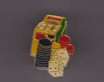 True Vintage Las Vegas Slot Machine Poker Chips Craps Lapel Pin, Enamel Pin, Pin back, Hat Pin, 70s, Gambling, Dice, Playboy, Slots