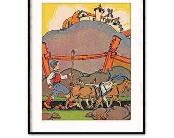 Farm Nursery Art, Instant Download JPG (Scandinavian Baby Wall Decor, Printable Kids Room Print)  - Aesops Fable Book Illustration