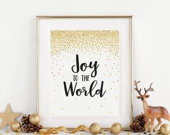 Joy to the World Sign, Holiday Wall Art Decoration, Christmas Sign, Christmas Printable, Merry Christmas, Joy to the World Digital Print