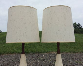Ceramic Walnut Table Lamps Mid Century Modern Great Condition!