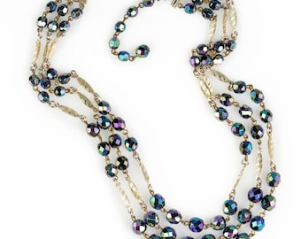 Three Strand Aurora Borealis Beaded Necklace | Made in West Germany