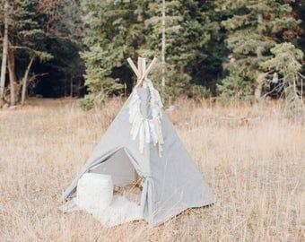 kids play teepee- playroom teepee- modern teepee- custom teepee- play tent & Grey teepee tent | Etsy