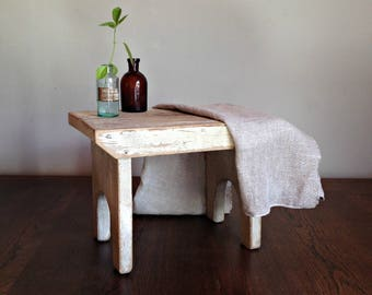 Small wooden bench, White wooden stool, Rustic bench, Rustic home decor Small wooden chair, Rustic Wood Stool, Stepping Stool, Vintage bench