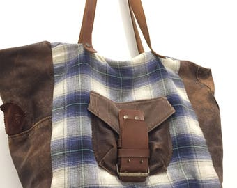 Large tote North Canadian, leather and blue cotton