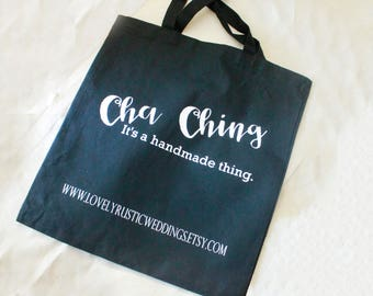 black Tote bag, cha ching totes, small business supply, mail bag, reusable shopping bags, bride tote bags, handmade seller bags, canvas tote