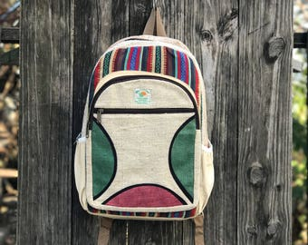 Handmade Pure Hemp backpack, Laptop Compartment, Pink Green Hemp