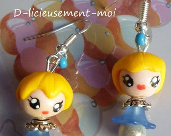 Earrings in 925 sterling silver girl alice kawaii chibi polymer clay blue dress doll