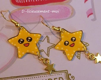 Gold plated earrings yellow star kawaii crazy crazy plastic charm and hand-painted star