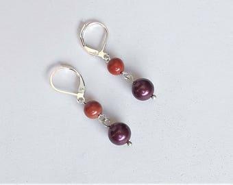 Earrings Swarovski pearls, stones and silver