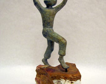 Vintage Brutalist BRONZE SCULPTURE Style of Curtis Jere BOY Agate Base c. 1960s