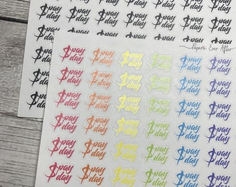 Pay day planner stickers | typography planner stickers | half sheet | FW002