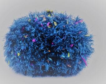 Blue faux fur bag / / kawaii / / wedding bag / / evening bag / / baptism / / clasp / / 21cm x 17cm