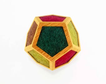 Wooden Dodecahedron Woolfelt, Dodecahedron Geometry , Golden Ratio Geometry , Sacred Geometry , Platonic Solid , Modern sculpture ,Fiber Art