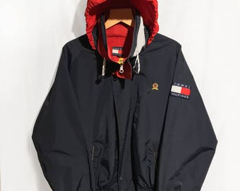 Vintage 90's Tommy Hilfiger Sailing Hooded Jacket Spell Out Blue/Red/Yellow Size XL