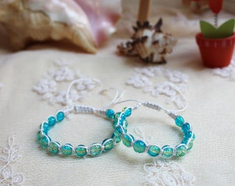 Mother daughter bracelet set Sea green First day of school bracelet set Mommy and me Mom and daughter bacelet Gift for daughter blue bangles