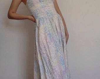 Early 80s late 1970s 70s Vintage Strapless Summer Dress / Floral Boho Prairie / Medium M or one size fits most
