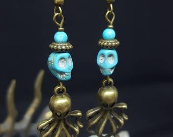 Octopus King - turquoise - howlite - skull - Octopus - marine - ocean - pirate - Gothic skull earrings