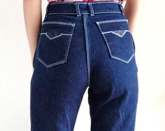 Vintage 90s Jordache Dark Wash High Waisted Jeans, High Rise Denim, Size 26 27
