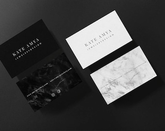 Kate • Premade Minimalist Marble Business Card Design Branding