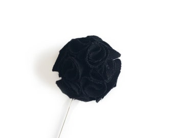 Black Upcycled Lapel Pin, Boutonniere, Wedding Pin