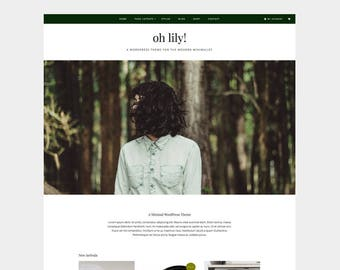 SALE | Oh Lily! WORDPRESS THEME | minimal, white, green, woocommerce, blog, ecommerce, website, template