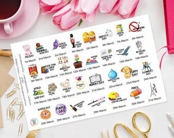 March Wacky Holidays Planner Stickers for Erin Condren, Happy Planner, Kate Spade, Plum Paper, Filofax, Kikki K, TN, Days of the year