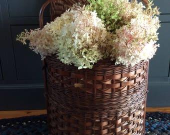 Vintage 2 tiers wicker sewing storage floor basket nice home decor