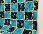 Baby Rag Quilt - Rag blankets - Space Quilt - Handmade Baby Quilts - Rag Quilt for Baby - Black Space Print Rag Quilt - GREAT GIFT