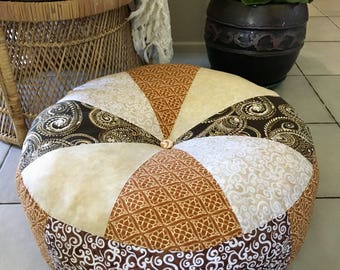 Unfilled 24 Inch Diameter 'Maya' Floor Cushion Cover, Made in Australia, Pouffe, Meditation Cushion, Pouf, Bohemian, Naturals