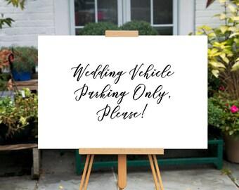 Printable Wedding Parking sign, Minimalist Directional sign, Reception Parking sign, Wedding Vehicle Parking Only Sign, Wedding Parking