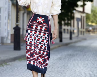 Vyshyvanka Blouse Ukrainian Vyshyvanka Modern Traditional Clothes Geometric Pattern Short skirt Embroidered blouse cross stitch pattern