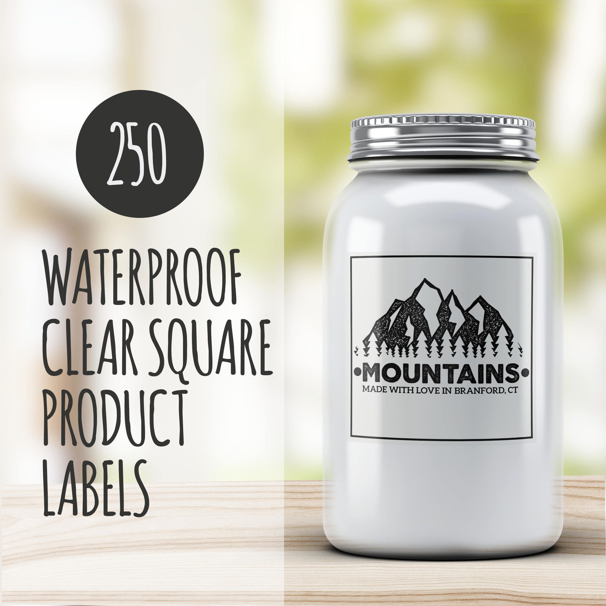 Custom product labels clear 250 custom stickers square vinyl stickers waterproof from juststickerbuttons on etsy studio