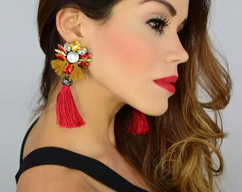 Red Tassel Earring, Colorful Earrings,Fringe Earrings,Bridal Earrings,Boho Threader Earrings,Multicolor Earrings,Rhinestone Earrings,Jewelry