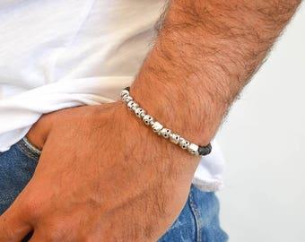 Head Skull Bracelet, Men's Bracelet, Head Skull Jewelry, Beaded Bracelet Men,  Gift for Him, Made in Greece by Christina Christi Jewels.